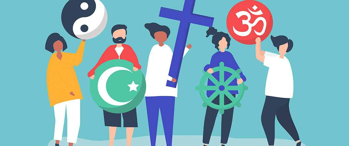 Illustration, Leute die verschiedene religiöse Symbole halten