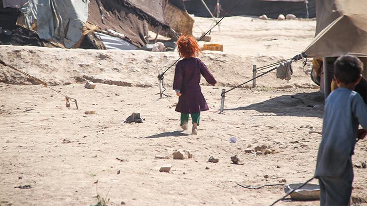 Kind, Flüchtlingslager von Kabul